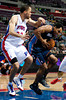 Oct 20, 2012; Auburn Hills, MI, USA; Charlotte Bobcats shooting guard Gerald Henderson (9) drives to the basket against Detroit Pistons small forward Tayshaun Prince (22) during the first quarter at The Palace. Mandatory Credit: Tim Fuller-US PRESSWIRE