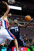 Oct 20, 2012; Auburn Hills, MI, USA; Charlotte Bobcats small forward Michael Kidd-Gilchrist (14) goes to the basket while being guarded by Detroit Pistons small forward Tayshaun Prince (22) during the first quarter at The Palace. Mandatory Credit: Tim Fuller-US PRESSWIRE