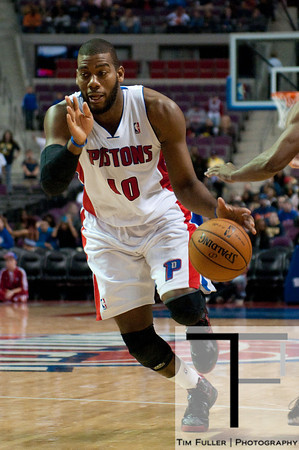 Oct 20, 2012; Auburn Hills, MI, USA; Detroit Pistons center Greg Monroe (10) drives to the basket against the Charlotte Bobcats during the fourth quarter at The Palace. Detroit won 85-80.  Mandatory Credit: Tim Fuller-US PRESSWIRE