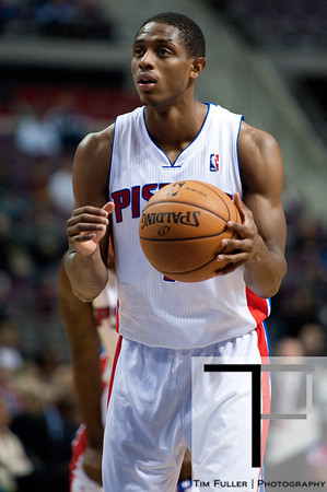 Oct 20, 2012; Auburn Hills, MI, USA; Detroit Pistons point guard Brandon Knight (7) shoots a free throw during the fourth quarter against the Charlotte Bobcats at The Palace. Detroit won 85-80.  Mandatory Credit: Tim Fuller-US PRESSWIRE