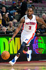 Oct 20, 2012; Auburn Hills, MI, USA; Detroit Pistons point guard Rodney Stuckey (3) brings the ball up court against the Charlotte Bobcats during the game at The Palace. Detroit won 85-80.  Mandatory Credit: Tim Fuller-US PRESSWIRE