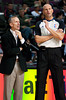 Oct 20, 2012; Auburn Hills, MI, USA; Charlotte Bobcats head coach Mike Dunlap (left) talks with referee Eric Dalen (right) during the game against the Detroit Pistons at The Palace. Detroit won 85-80.  Mandatory Credit: Tim Fuller-US PRESSWIRE