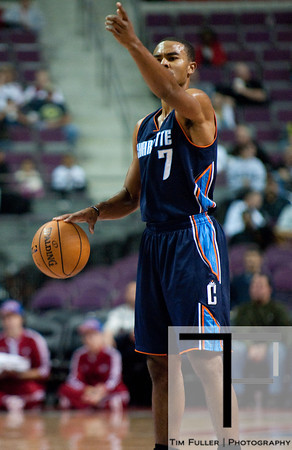 Oct 20, 2012; Auburn Hills, MI, USA; Charlotte Bobcats point guard Ramon Sessions (7) calls out a play during the game against the Detroit Pistons at The Palace. Mandatory Credit: Tim Fuller-US PRESSWIRE