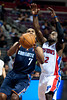 Oct 20, 2012; Auburn Hills, MI, USA; Charlotte Bobcats point guard Ramon Sessions (7) drives to the basket against Detroit Pistons point guard Will Bynum (12) during the game at The Palace. Mandatory Credit: Tim Fuller-US PRESSWIRE