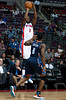 Oct 20, 2012; Auburn Hills, MI, USA; Detroit Pistons point guard Rodney Stuckey (3) takes a jump shot over Charlotte Bobcats shooting guard Ben Gordon (8) during the game at The Palace. Detroit won 85-80.  Mandatory Credit: Tim Fuller-US PRESSWIRE