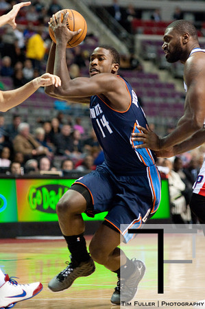 Oct 20, 2012; Auburn Hills, MI, USA; Charlotte Bobcats small forward Michael Kidd-Gilchrist (14) drives to the basket against the Detroit Pistons during the game at The Palace. Mandatory Credit: Tim Fuller-US PRESSWIRE