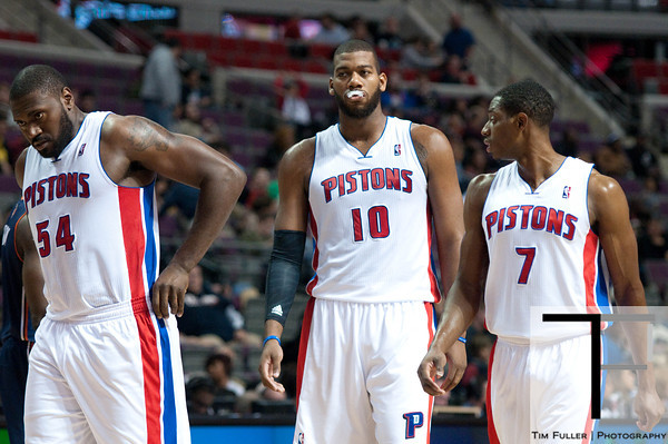 Oct 20, 2012; Auburn Hills, MI, USA; Detroit Pistons power forward Jason Maxiell (54), center Greg Monroe (10), and point guard Brandon Knight (7) during the game against the Charlotte Bobcats at The Palace. Mandatory Credit: Tim Fuller-US PRESSWIRE