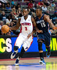 Oct 20, 2012; Auburn Hills, MI, USA; Detroit Pistons point guard Rodney Stuckey (3) brings the ball up court against Charlotte Bobcats point guard Kemba Walker (15) during the game at The Palace. Detroit won 85-80.  Mandatory Credit: Tim Fuller-US PRESSWIRE