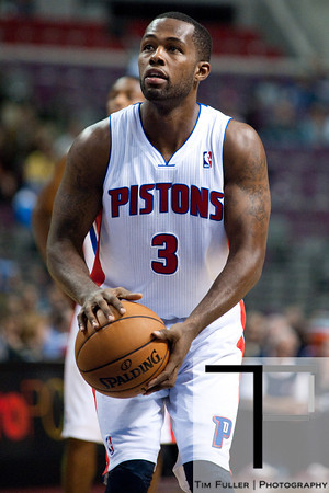 Oct 20, 2012; Auburn Hills, MI, USA; Detroit Pistons point guard Rodney Stuckey (3) shoots a free throw during the game against the Charlotte Bobcats at The Palace. Detroit won 85-80.  Mandatory Credit: Tim Fuller-US PRESSWIRE