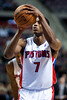 Oct 20, 2012; Auburn Hills, MI, USA; Detroit Pistons point guard Brandon Knight (7) shoots a free throw during the game against the Charlotte Bobcats at The Palace. Detroit won 85-80.  Mandatory Credit: Tim Fuller-US PRESSWIRE