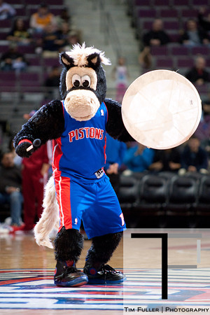 Oct 20, 2012; Auburn Hills, MI, USA; Detroit Pistons mascot Hooper during the game against the Charlotte Bobcats at The Palace. Detroit won 85-80.  Mandatory Credit: Tim Fuller-US PRESSWIRE