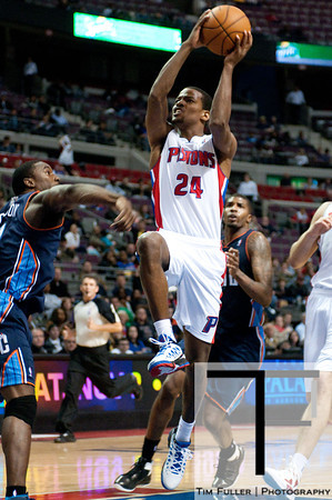 Oct 20, 2012; Auburn Hills, MI, USA; Detroit Pistons shooting guard Kim English (24) drives to the basket against the Charlotte Bobcats during the fourth quarter at The Palace. Detroit won 85-80.  Mandatory Credit: Tim Fuller-US PRESSWIRE
