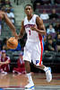 Oct 20, 2012; Auburn Hills, MI, USA; Detroit Pistons point guard Brandon Knight (7) brings the ball up court against the Charlotte Bobcats during the game at The Palace. Detroit won 85-80.  Mandatory Credit: Tim Fuller-US PRESSWIRE