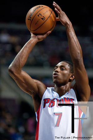 Oct 20, 2012; Auburn Hills, MI, USA; Detroit Pistons point guard Brandon Knight (7) during the game against the Charlotte Bobcats at The Palace. Detroit won 85-80.  Mandatory Credit: Tim Fuller-US PRESSWIRE