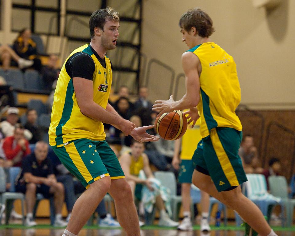 """Anthony Drmic, AJ Ogilvie - Boomers - Australian Men's Basketball Team Open Training Session, The Southport School, Queensland, Australia; 28 July 2011. Photos by Des Thureson:  <a href=""""http://disci.smugmug.com"""">http://disci.smugmug.com</a>."""