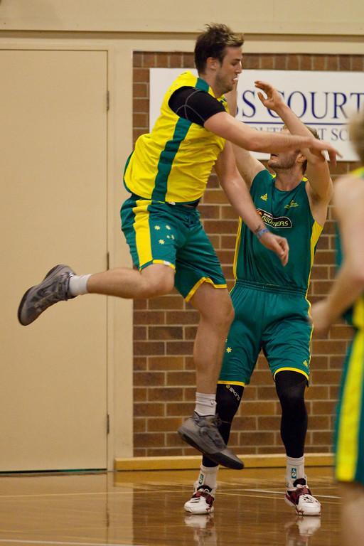 """AJ Ogilvy - Boomers - Australian Men's Basketball Team Open Training Session, The Southport School, Queensland, Australia; 28 July 2011. Photos by Des Thureson:  <a href=""""http://disci.smugmug.com"""">http://disci.smugmug.com</a>."""