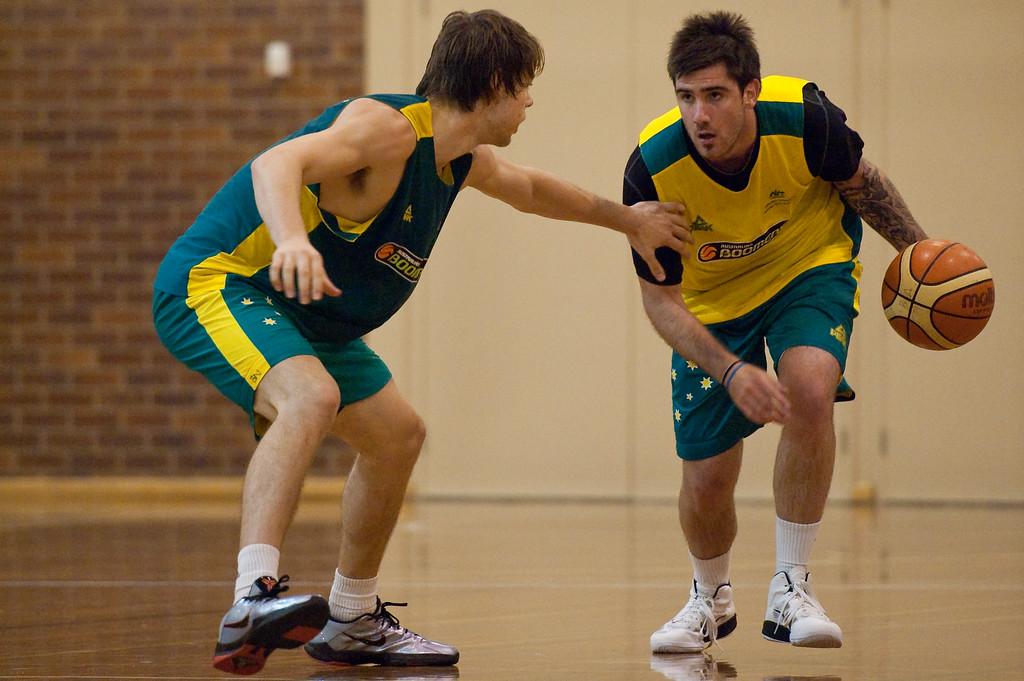 "Nate Tomlinson, Matthew Dellavedova - Boomers - Australian Men's Basketball Team Open Training Session, The Southport School, Queensland, Australia; 28 July 2011. Photos by Des Thureson:  <a href=""http://disci.smugmug.com"">http://disci.smugmug.com</a>."
