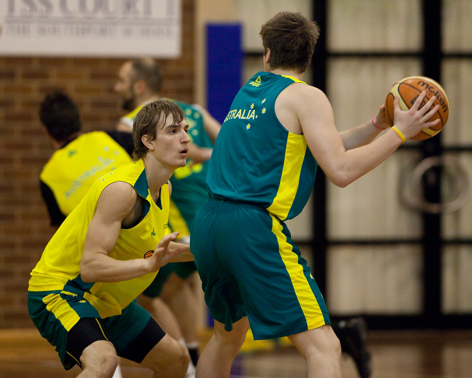 """Anthony Drmic, Igor Hadziomerovic (?) - Boomers - Australian Men's Basketball Team Open Training Session, The Southport School, Queensland, Australia; 28 July 2011. Photos by Des Thureson:  <a href=""""http://disci.smugmug.com"""">http://disci.smugmug.com</a>."""