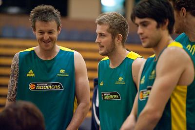 "Cam Tragardh (""Trigger"") & Jesse Wagstaff - Boomers - Australian Men's Basketball Team Open Training Session, The Southport School, Queensland, Australia; 28 July 2011. Photos by Des Thureson:  http://disci.smugmug.com."