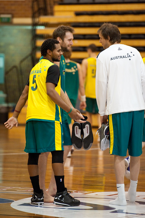 "Patty Mills, Mark Worthington, Joe Ingles - Boomers - Australian Men's Basketball Team Open Training Session, The Southport School, Queensland, Australia; 28 July 2011. Photos by Des Thureson:  <a href=""http://disci.smugmug.com"">http://disci.smugmug.com</a>."