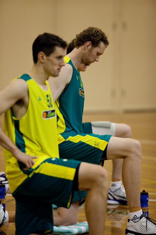 "Luke Schenscher, Daniel Kickert - Boomers - Australian Men's Basketball Team Open Training Session, The Southport School, Queensland, Australia; 28 July 2011. Photos by Des Thureson:  <a href=""http://disci.smugmug.com"">http://disci.smugmug.com</a>."