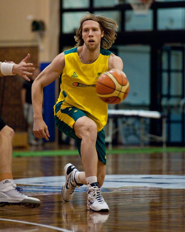 """David Barlow - Boomers - Australian Men's Basketball Team Open Training Session, The Southport School, Queensland, Australia; 28 July 2011. Photos by Des Thureson:  <a href=""""http://disci.smugmug.com"""">http://disci.smugmug.com</a>."""