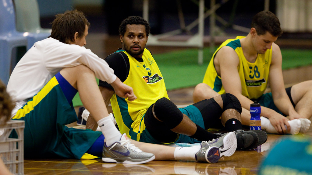 "Patty Mills, Joe Ingles - Boomers - Australian Men's Basketball Team Open Training Session, The Southport School, Queensland, Australia; 28 July 2011. Photos by Des Thureson:  <a href=""http://disci.smugmug.com"">http://disci.smugmug.com</a>."