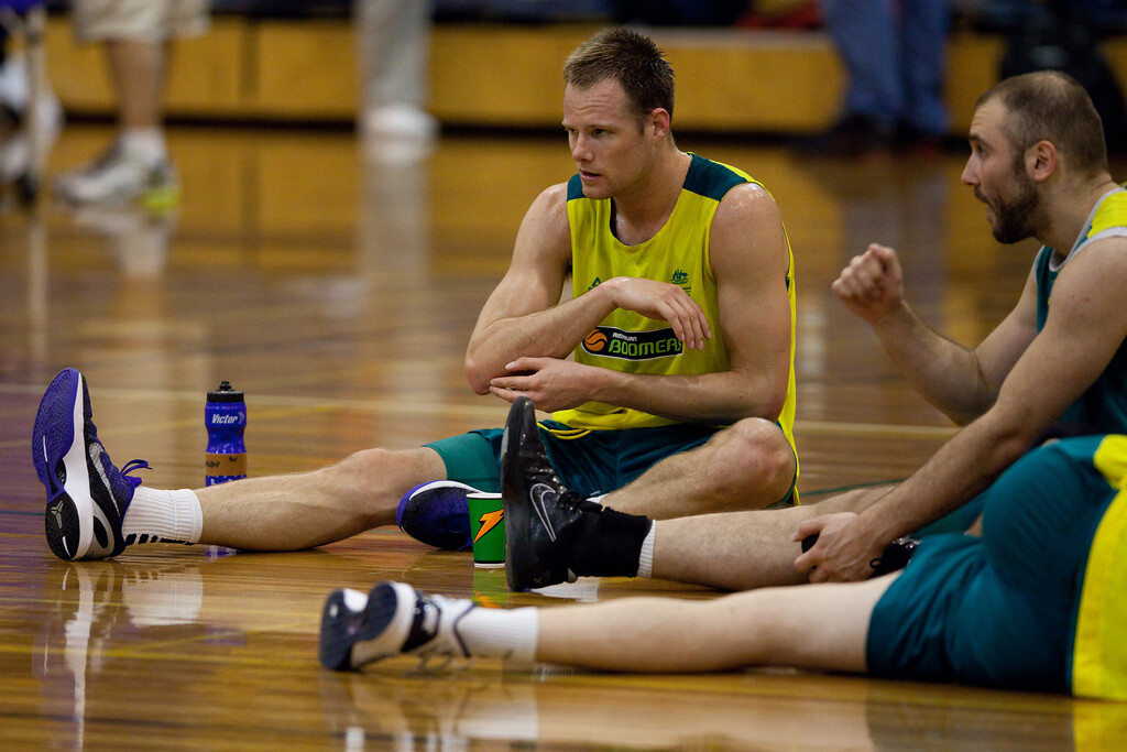 """Brad Newley - Boomers - Australian Men's Basketball Team Open Training Session, The Southport School, Queensland, Australia; 28 July 2011. Photos by Des Thureson:  <a href=""""http://disci.smugmug.com"""">http://disci.smugmug.com</a>."""