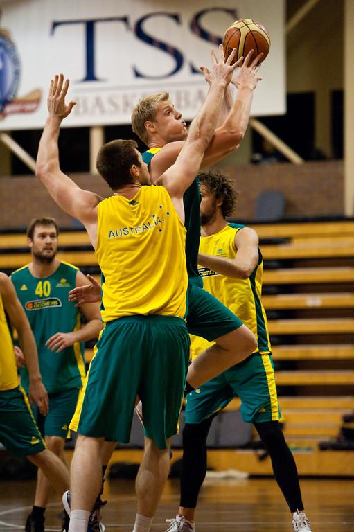 """Luke Nevill, Aron Baynes - Boomers - Australian Men's Basketball Team Open Training Session, The Southport School, Queensland, Australia; 28 July 2011. Photos by Des Thureson:  <a href=""""http://disci.smugmug.com"""">http://disci.smugmug.com</a>."""