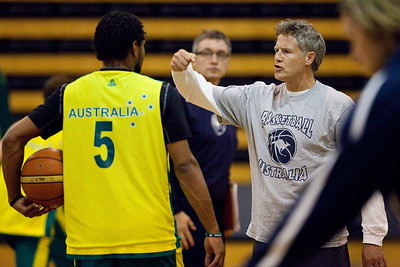 No, Coach Brown was not throwing a punch at Patty Mills - Boomers basketball Head Coach Brett Brown - Boomers - Australian Men's Basketball Team Open Training Session, The Southport School, Queensland, Australia; 28 July 2011. Photos by Des Thureson:  http://disci.smugmug.com.