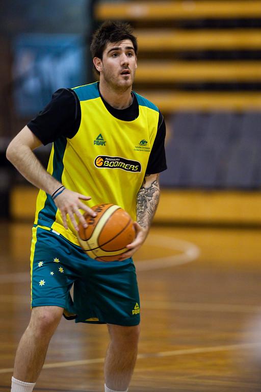 """Nate Tomlinson - Boomers - Australian Men's Basketball Team Open Training Session, The Southport School, Queensland, Australia; 28 July 2011. Photos by Des Thureson:  <a href=""""http://disci.smugmug.com"""">http://disci.smugmug.com</a>."""