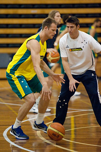 Brad Newley, Damian Martin - Boomers - Australian Men's Basketball Team Open Training Session, The Southport School, Queensland, Australia; 28 July 2011. Photos by Des Thureson:  http://disci.smugmug.com.