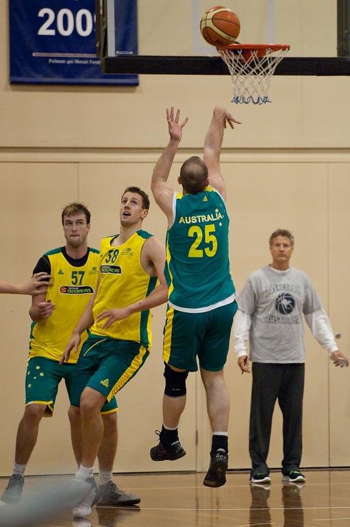 "Steven Markovic, Daniel Kickert - Boomers - Australian Men's Basketball Team Open Training Session, The Southport School, Queensland, Australia; 28 July 2011. Photos by Des Thureson:  <a href=""http://disci.smugmug.com"">http://disci.smugmug.com</a>."