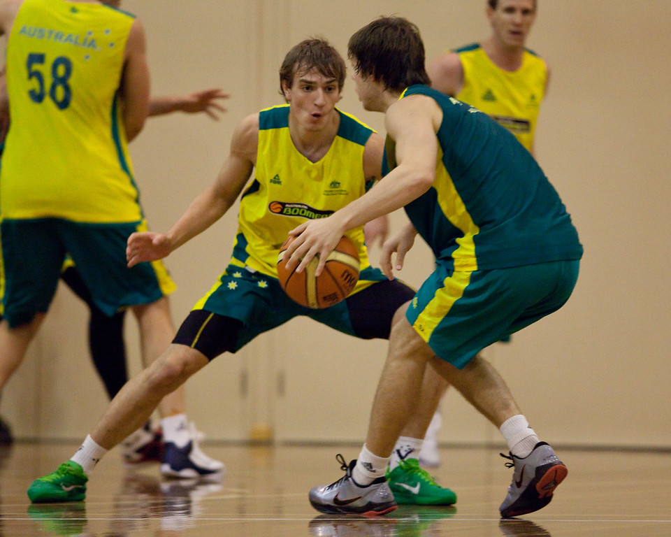 """Matthew Dellavedova, Anthony Drmic - Boomers - Australian Men's Basketball Team Open Training Session, The Southport School, Queensland, Australia; 28 July 2011. Photos by Des Thureson:  <a href=""""http://disci.smugmug.com"""">http://disci.smugmug.com</a>."""