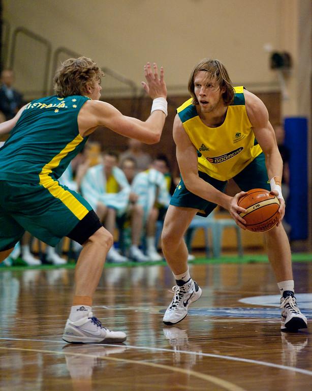 "David Barlow, Hugh Greenwood - Boomers - Australian Men's Basketball Team Open Training Session, The Southport School, Queensland, Australia; 28 July 2011. Photos by Des Thureson:  <a href=""http://disci.smugmug.com"">http://disci.smugmug.com</a>."
