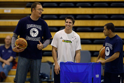 Damian Martin shares a laugh with Luc Longley - Boomers - Australian Men's Basketball Team Open Training Session, The Southport School, Queensland, Australia; 28 July 2011. Photos by Des Thureson:  http://disci.smugmug.com.