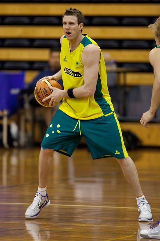 "Peter Crawford - Boomers - Australian Men's Basketball Team Open Training Session, The Southport School, Queensland, Australia; 28 July 2011. Photos by Des Thureson:  <a href=""http://disci.smugmug.com"">http://disci.smugmug.com</a>."