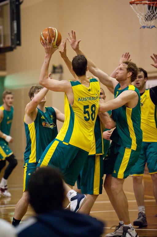 "Daniel Kickert, Luke Schenscher - Boomers - Australian Men's Basketball Team Open Training Session, The Southport School, Queensland, Australia; 28 July 2011. Photos by Des Thureson:  <a href=""http://disci.smugmug.com"">http://disci.smugmug.com</a>."