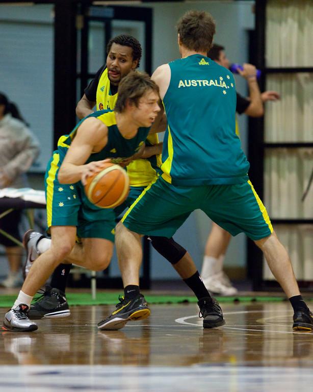 "Matthew Dellavedova, Patty Mills - Boomers - Australian Men's Basketball Team Open Training Session, The Southport School, Queensland, Australia; 28 July 2011. Photos by Des Thureson:  <a href=""http://disci.smugmug.com"">http://disci.smugmug.com</a>."