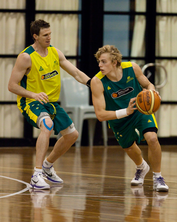 """Hugh Greenwood, Peter Crawford - Boomers - Australian Men's Basketball Team Open Training Session, The Southport School, Queensland, Australia; 28 July 2011. Photos by Des Thureson:  <a href=""""http://disci.smugmug.com"""">http://disci.smugmug.com</a>."""