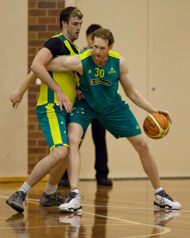 "Luke Schenscher, AJ Ogilvie - Boomers - Australian Men's Basketball Team Open Training Session, The Southport School, Queensland, Australia; 28 July 2011. Photos by Des Thureson:  <a href=""http://disci.smugmug.com"">http://disci.smugmug.com</a>."