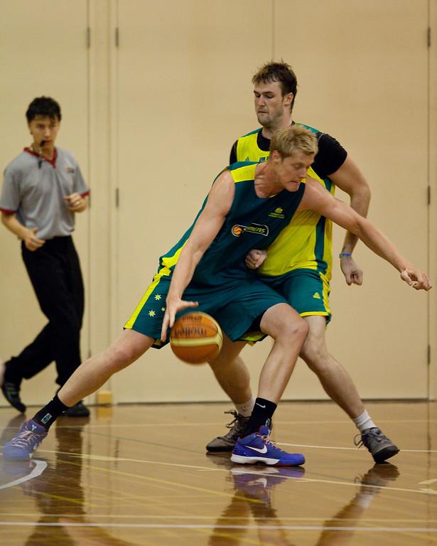 """Luke Nevill, AJ Ogilvie - Boomers - Australian Men's Basketball Team Open Training Session, The Southport School, Queensland, Australia; 28 July 2011. Photos by Des Thureson:  <a href=""""http://disci.smugmug.com"""">http://disci.smugmug.com</a>."""