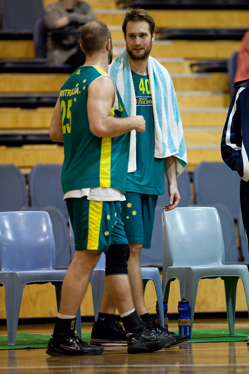 "Mark Worthington, Steven Markovic - Boomers - Australian Men's Basketball Team Open Training Session, The Southport School, Queensland, Australia; 28 July 2011. Photos by Des Thureson:  <a href=""http://disci.smugmug.com"">http://disci.smugmug.com</a>."