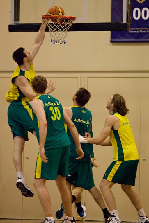 """Aron Baynes - Boomers - Australian Men's Basketball Team Open Training Session, The Southport School, Queensland, Australia; 28 July 2011. Photos by Des Thureson:  <a href=""""http://disci.smugmug.com"""">http://disci.smugmug.com</a>."""