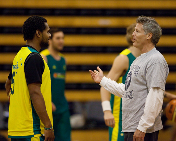 Boomers basketball Head Coach Brett Brown with Patty Mills - Boomers - Australian Men's Basketball Team Open Training Session, The Southport School, Queensland, Australia; 28 July 2011. Photos by Des Thureson:  http://disci.smugmug.com.