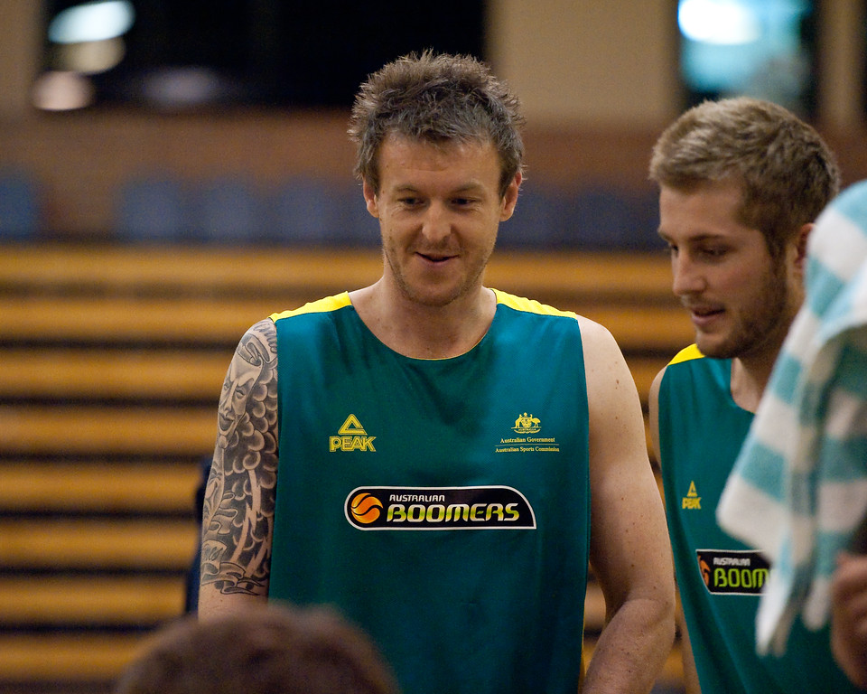 "Cam Tragardh (""Trigger"") & Jesse Wagstaff - Boomers - Australian Men's Basketball Team Open Training Session, The Southport School, Queensland, Australia; 28 July 2011. Photos by Des Thureson:  <a href=""http://disci.smugmug.com"">http://disci.smugmug.com</a>."