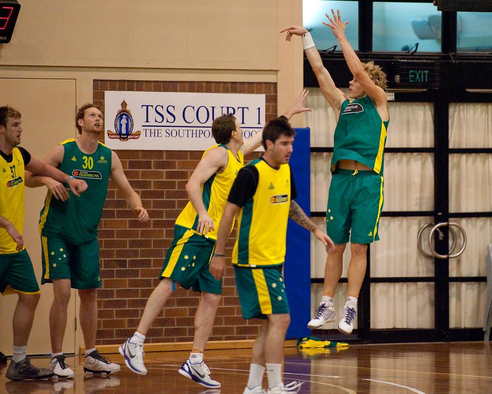 """Hugh Greenwood - Boomers - Australian Men's Basketball Team Open Training Session, The Southport School, Queensland, Australia; 28 July 2011. Photos by Des Thureson:  <a href=""""http://disci.smugmug.com"""">http://disci.smugmug.com</a>."""