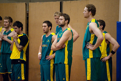 Middle: Gold Coast Blaze team mates Mark Worthington & Adam Gibson - Boomers - Australian Men's Basketball Team Open Training Session, The Southport School, Queensland, Australia; 28 July 2011. Photos by Des Thureson:  http://disci.smugmug.com.