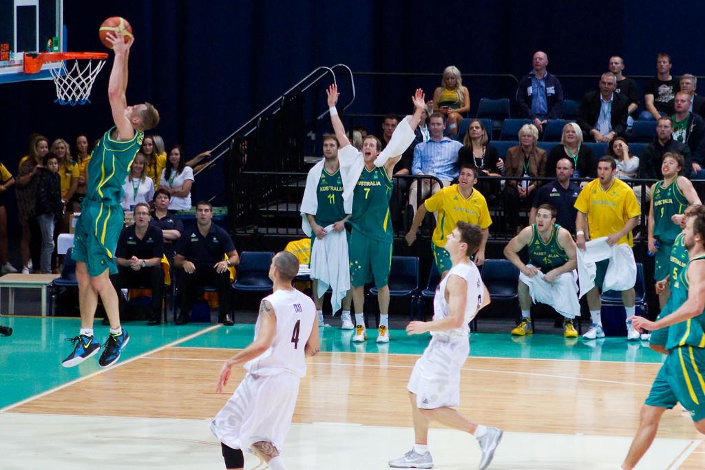 "Brad Newley, Joe Ingles - Australian Boomers v New Zealand Tall Blacks FIBA Oceania Championship International Men's Basketball, Brisbane Entertainment Centre, Boondall, Brisbane, Queensland, Australia; 9 September 2011. Photos by Des Thureson:  <a href=""http://disci.smugmug.com"">http://disci.smugmug.com</a>."