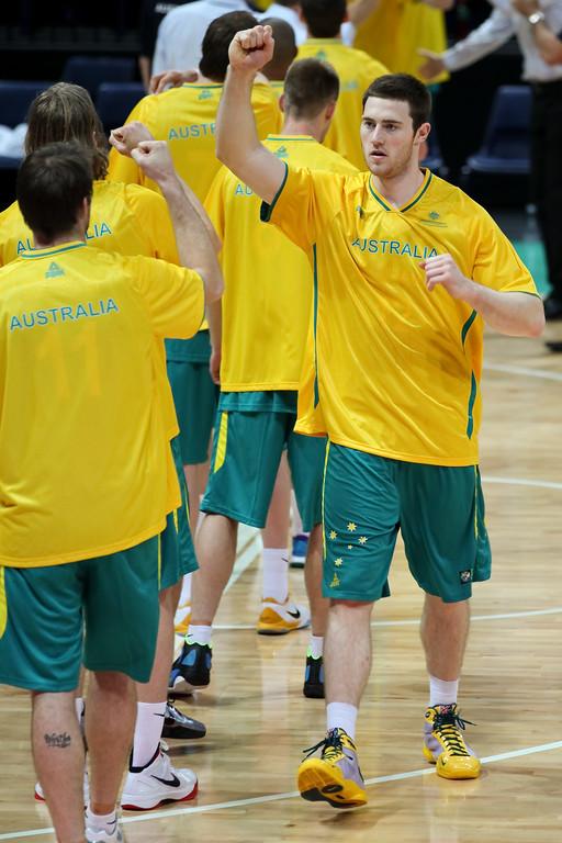 """Australian Boomers v New Zealand Tall Blacks FIBA Oceania Championship International Men's Basketball, Brisbane Entertainment Centre, Boondall, Brisbane, Queensland, Australia; 9 September 2011. Photos by Des Thureson:  <a href=""""http://disci.smugmug.com"""">http://disci.smugmug.com</a>."""